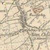 Německý Chloumek - Aspernský kříž   Aspernský kříž při původní silnici do Bochova na mapě topografické sekce 3. vojenského mapování za 30. let 20. století