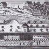 Karlovy Vary - kolonáda Nového pramene | promenádní hala nad Novým pramenem na kresbě z roku 1798
