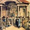 Karlovy Vary - kolonáda Nového pramene | společnost u Nového pramene v portiku nové Giesselovy kolonády na kolorovaném leptu J. E. Opitze z roku 1812