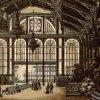 Karlovy Vary - litinová Vřídelní kolonáda | interiér promenádní haly na polygrafii z doby kolem roku 1900