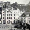 Karlovy Vary - městská spořitelna | secesní městská spořitelna na snímku z doby kolem roku 1906