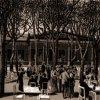 Karlovy Vary - Poštovní dvůr | zahradní restaurace na polygrafii z doby kolem roku 1895