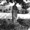 Kolešov - socha sv. Barbory | rozvalená socha sv. Barbory u Kolešova v roce 1963