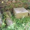 Kolešov - socha sv. Barbory | nalezené fragmenty sochy sv. Barbory v zahradě u farního kostela sv. Petra a Pavla ve Žluticích v roce 2010