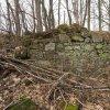 Činov - kostel sv. Martina | zbytky ohradní zdi hřbitova se sutinami strženého kostela sv. Martina v zaniklé vsi Činov - březen 2017
