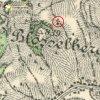 Dlouhá - kaple Nejsvětější Trojice | kaple Nejsvětější Trojice na Plešivci na speciální mapě 3. vojenského mapování ze 30. let 20. století
