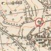Knínice - železný kříž | kříž na rozcestí polních cest na mapě 3. vojenského mapování z počátku 20. století