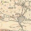 Ratiboř - železný kříž | železný kříž na rozcestí u Ratibořského rybníka (Schwerfer Teich) na mapě topografické sekce ze 40. let 20. století
