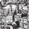 Horní Slavkov - sloup se sousoším Nejsvětější Trojice | trojiční sloup na rytině Eliase Dollhopfa z roku 1739 s vyobrazením kostela sv. Jiří s Pannou Marií Slavkovskou