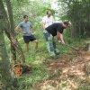 Lažany - Michlův kříž | záchranné práce v místech rozvaleného podstavce Michlova kříže u Lažan - srpen 2016