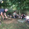 Semtěš - pískovcový kříž | záchranné práce v místech rozvaleného podstavce pískovcového kříže u Semtěše - srpen 2016