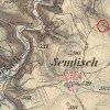Semtěš - pískovcový kříž | původní kříž na rozcestí u Semtěše na mapě 3. vojenského františsko-josefského mapování z let 1876-1878