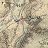 Mlýnce - pískovcový kříž | kříž u Mlýnců na mapě 3. vojenského františko-josefského mapování z let 1877-1880