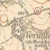 Verušice - pomník Aloise Böhma | pomník Aloise Böhma u Verušic na mapě Topografické sekce III. vojenského mapování ze 40. let 20. století