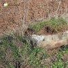 Močidlec - Mikuttův kříž | poškozený kamenný sokl Mikuttova kříže na okraji pole u Močidlece částečně zahrnutý zeminou - duben 2016