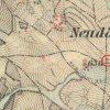 Nová Víska - Kaunznerův kříž | Kaunznerův kříž u Nové Vísky na mapě 3. vojenského františko-josefského mapování z roku 1878