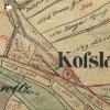 Kozlov - Schwarzmichlův kříž | Schwarzmichlův kříž u nově založeného hřbitova v Kozlově na mapě stabilního katastru vsi z roku 1841