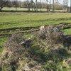 Pávice - Garkischův kříž | rozvalený Garkischův kříž s ohrazením na bývalém rozcestí uprostřed polí západně od vsi Pávice - březen 2017