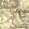Údrč - sloup se sochou sv. Petra | sloup se sochou sv. Petra v Údrči na výřezu mapy 2. vojenského františkovo mapování z roku 1846