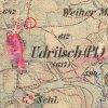 Údrč - sloup se sochou sv. Petra | sloup se sochou sv. Petra v Údrči na výřezu mapy 3. vojenského františko-josefského mapování z roku 1879