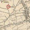 Německý Chloumek - Učitelský kříž | dřevěný Učitelský kříž v polích u Německého Chloumku na mapě topografické sekce 3. vojenského mapování z 30. let 20. století