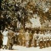 Oleška - pomník obětem 1. světové války | slavnostní odhalení pomníku obětem 1. světové války před obecní kaplí sv. Václava v Olešce v době po roce 1918