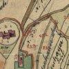 Velichov - kostel Nanebevzetí Panny Marie | půdorys původní gotického kostela obklopeného hřbitovem na otisku mapy stabilního katastru vsi Velichov z roku 1842