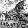 Velichov - kostel Nanebevzetí Panny Marie | farní kostel ve Velichově na kresbě z 2. poloviny 19. století