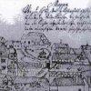 Kozlov 1727 | ves se zámkem v popředí uprostřed veduty obce z roku 1727