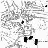Kozlov 1841 | Výřez z katastrální mapy vsi z roku 1841. V její jižní části se rozkládá poplužní dvůr s budovou zámku T v západním průčelí.