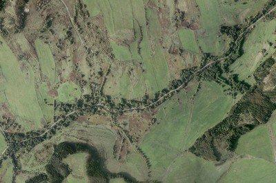 zaniklá ves Dlouhá na leteckém mapování z roku 2010