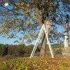 Dlouhá - pomník obětem 1. světové války | čištění znovuvztyčeného pomníku obětem 1. světové války na návrší Heinberg nad zaniklou vsí Dlouhá - říjen 2018