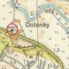 Dolánky - kaple Panny Marie | obecní kaple Panny Marie na návsi uprostřed osady Dolánkyh na mapě z roku 1952