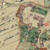 Martice - kaple sv. Floriána | původní poloha obecní kaple u usedlosti čp. 4. na výřezu z mapy stabilního katastru vsi Martice (Maroditz) z roku 1841