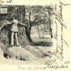 Dalovice - Körnerův dub | objímání kmene dubu na historické pohlednici z roku 1900