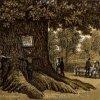 Dalovice - Körnerův dub | Körnerův dub na historické polygrafii z konce 19. století