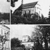Žďár (Saar) | kostel, škola a zámek ve Žďár na historické pohlednici z doby před rokem 1945
