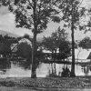 Žďár (Saar) | rybník s kostelem Narození Panny Marie před rokem 1945