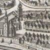 Ostrov - kostel sv. Michaela Archanděla | kostel sv. Michaela Archanděla na výřezu z veduty města Ostrov v Topografii Matthause Meriana z roku 1650