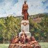 Karlovy Vary - pomník Františka Josefa I. | pomník císaře Františka Josefa I. v Karlových Varech na kresbě z doby před rokem 1918