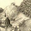Karlovy Vary - kostel sv. Ondřeje | pozdně gotický kostel sv. Ondřeje na výřezu z historické veduty Johanna Baptisty Homanna z počátku 18. století