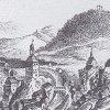 Karlovy Vary (Karlsbad) | pozdně gotický kostel sv. Ondřeje (vpravo) na výřezu historické veduty města Karlovy Vary z doby před rokem 1759