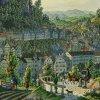 Karlovy Vary - kaplička sv. Vavřince | kaplička sv. Vavřince (vlevo) na výřezu z kolorované mědirytiny města Vincenza Morstadta z doby kolem roku 1840
