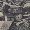 Petrov - kaple | obecní kaple v Petrově na pohlednici z doby kolem roku 1941