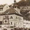 Karlovy Vary - sloup se sousoším Nejsvětější Trojice | sloup se sousoším Nejsvětější Trojice před rokem 1875