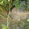 Kozlov - sousoší Nejsvětější Trojice | trojboká horní krycí deska zchátralého podstavce sousoší Nejsvětější Trojice z Kozlova - srpen 2015