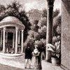Karlovy Vary - pavilon Tereziina pramene | pavilon Tereziina pramene na rytině z doby kolem roku 1835