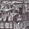 Karlovy Vary - stará radnice | renesanční radnice na výřezu z veduty Karlových Varů od Josefa Spahna z doby před požárem města v roce 1759