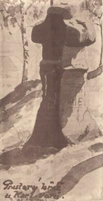 původní smírčí kříž naakvarelu Karla Šrámka zroku 1924