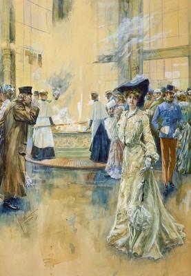 Edward Cucuel, Lázeňská společnost u Vřídla, tempera na papíře, 1900